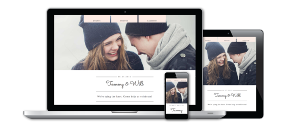 Custom Wedding Website on Desktop, Mobile and Tablet